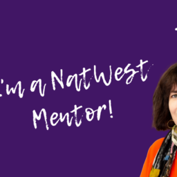 purple image with Lindsey Pickles and I'm a NatWest Mentor!