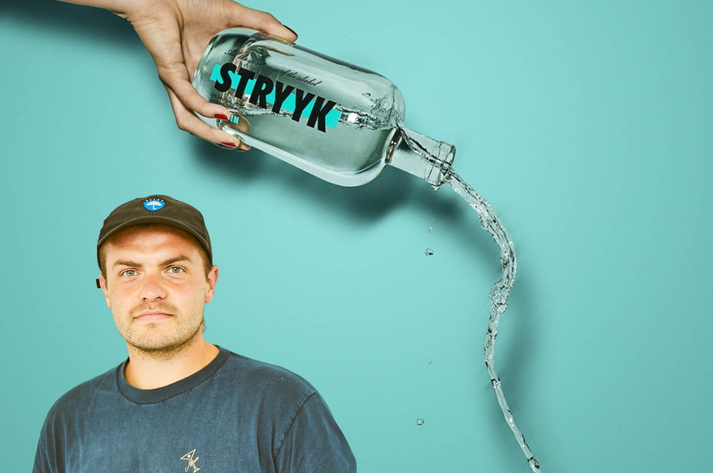 Tom Glover from STRYYK and a bottle of STRYYK Not Gin